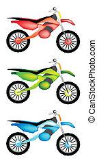 satz, drei, abbildung, farben, motorrad, ikone