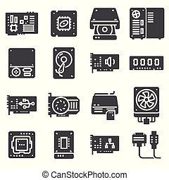 satz, edv, icons., hardware, pc, vektor, komponenten