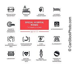 satz, einfache abbilder, klinikum, modern, -, pictograms, design, zimmer, linie, besondere, schlanke