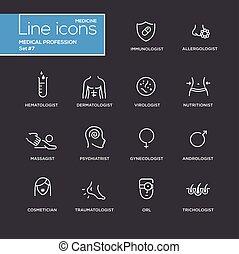 satz, einfache abbilder, medizinischer beruf, pictograms, design, dünne linie