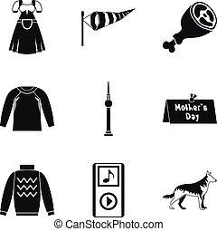 satz, einfache , stil, kleidung, ikone