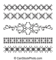 satz, elegant, calligraphic, dekorationen, weinlese