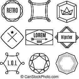satz, elemente, weinlese, etiketten, vektor, hüfthose, poppig, abzeichen