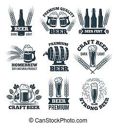 satz, emblem, beer., etiketten, elemente, design, logo, oder, abzeichen