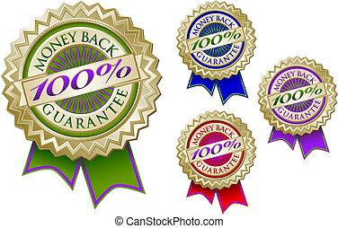 satz, emblem, geld, 100%, zurück, dichtungen, vier, garantie