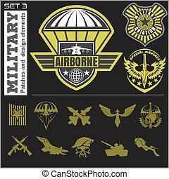 satz, emblem, luft, vektor, design, schablone, militaer,...