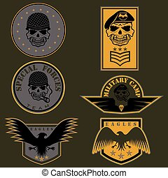 satz, emblem, vektor, design, einheit, schablone, militaer,...