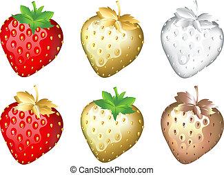 satz, erdbeer, weißes, freigestellt