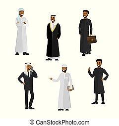 satz, erfolgreich, charaktere, geschäftsmann, arabisches , karikatur