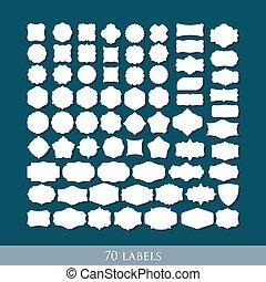 satz, etikett, formen, vektor, design, retro, 70