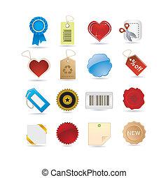 satz, etikette, ikone