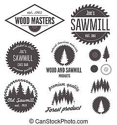 satz, etiketten, logotype, sägewerk, elemente, abzeichen, ...