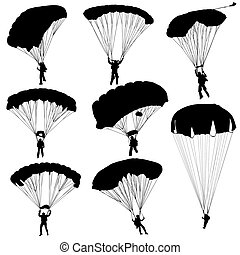satz, fallschirmspringer, abbildung, silhouetten, vektor,...
