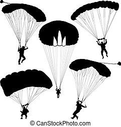 satz, fallschirmspringer, silhouetten, fallschirmspringen, vektor, abbildung