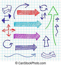 satz, farbe, abbildung, sketchy, vektor, design, pfeil, elemente