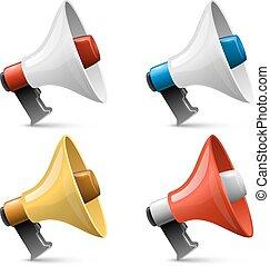 satz, farbe, freigestellt, zeichen, hintergrund., vektor, glänzend, weißes, megaphon