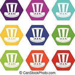 satz, farbe, hexahedron, amerikanische , hut, ikone