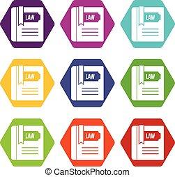 satz, farbe, hexahedron, buch, gesetz, ikone
