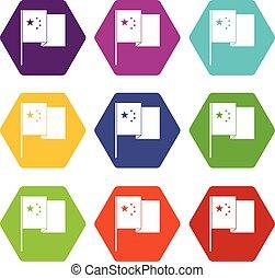 satz, farbe, hexahedron, fahne, porzellan, ikone