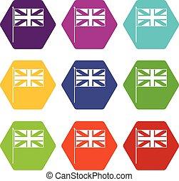 satz, farbe, hexahedron, fahne, vereinigtes königreich, ikone