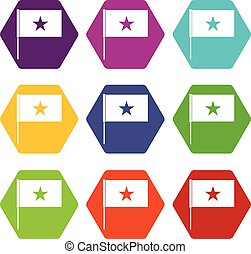 satz, farbe, hexahedron, fahne, vietnam, ikone