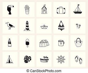 satz, feiertag, betriebe, objects., design., web, gekritzel, concept., freigestellt, schwarz, gezeichnet, weißes, sketches., getränk, tiere, icons., lebensmittel, linie, hand, lebensstil, illustrationen, vektor, reise, sommer, art.