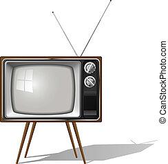 satz, fernsehapparat, altmodisch, freigestellt, beinig, vier, hintergrund., vektor, abbildung, weißes