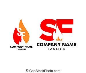satz, feuer, abzeichnen, design, brief, logo, sf