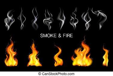 satz, feuer, realistisch, flamme, rauchwolken, dampf, ikone
