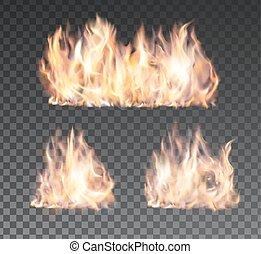 satz, feuerflammen, feuer, realistisch, hintergrund,...
