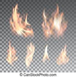 satz, feuerflammen, feuer, realistisch, hintergrund, durchsichtig
