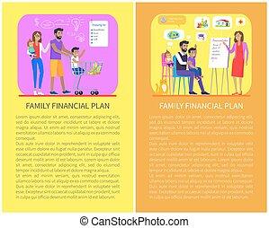 satz, finanziell, familie, abbildung, vektor, ausgaben