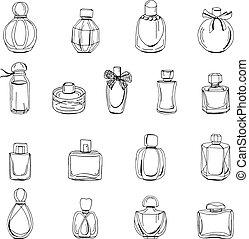 satz, flaschen, gegenstände, freigestellt, parfüm, frau, white., hintergrund, weißes, mode, design.
