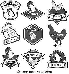 satz, fleisch, emb, labels., elemente, design, etikett, huhn, logo