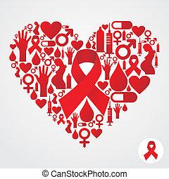 satz, form, aids, kreis, rotes , ikone
