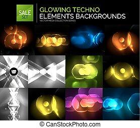 satz, formen, abstrakt, neon, sammlung, glühen, techno, hintergrund