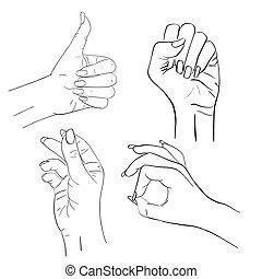 satz, frau reicht, vektor, gestures.