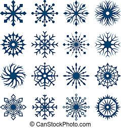 satz, freigestellt, formen, hintergrund., weiße schneeflocke