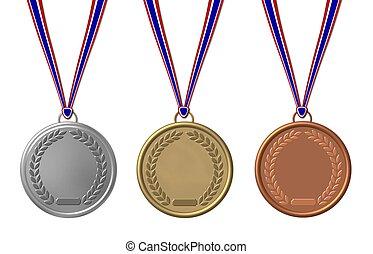 satz, freigestellt, medaillen, sport
