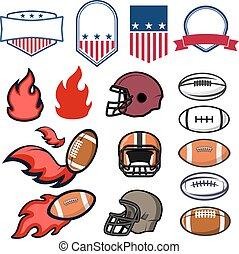 satz, fußball, amerikanische , element, embleme, design, templates.