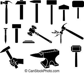 satz, (gavel, heiligenbilder, waffe, -, thor), silhouetten, schwarz, nagel, hämmer