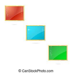 satz, gefärbt, etikette, eleganz, symbole, rechteck