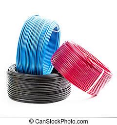 satz, gefärbt, kabel, hintergrund, weißes, elektrisch