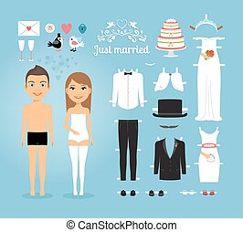 satz, geheiratet, füllen, papier, wedding, puppen