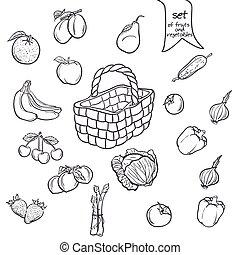 satz, gemuese, schwarz, früchte, korb, kontur