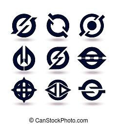 satz, geschäfts-ikon, editable, freigestellt, graphischer entwurf, hintergrund, weißes, logo., dein, design.