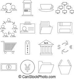 satz, geschäfts-ikon, hintergrund, weißes, kontur