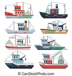 satz, gewerblich, schiffe, freigestellt, gefäße, trawler, vektor, fischer, fischerei, meer, wasserlandschaft, fluß, boats.