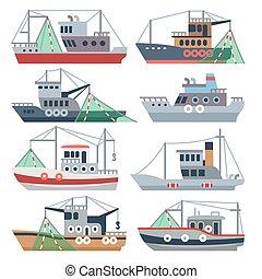 satz, gewerblich, schiffe, freigestellt, wasserlandschaft, vektor, fischer, fischerei, boats.