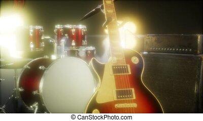 satz, gitarre, trommel, buehne, lighting., unterworfen